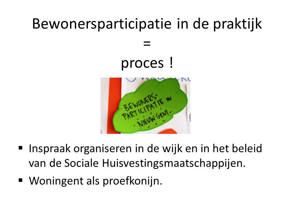 Bewonersparticipatie in de praktijk = proces !  Inspraak organiseren in de wijk en in het beleid van de Sociale Huisvestingsmaatschappijen.  Woninge