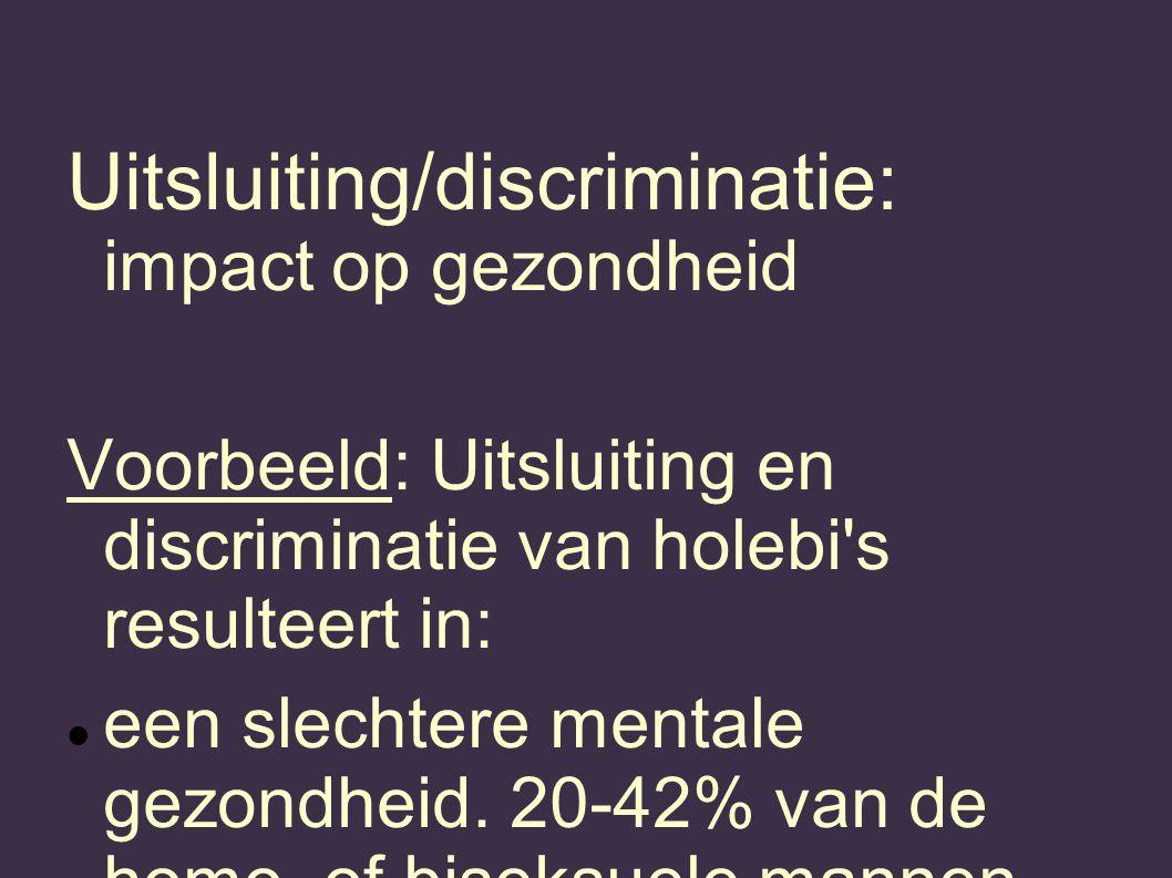 Uitsluiting/discriminatie: impact op gezondheid Voorbeeld: Uitsluiting en discriminatie van holebi s resulteert in: een slechtere mentale gezondheid.