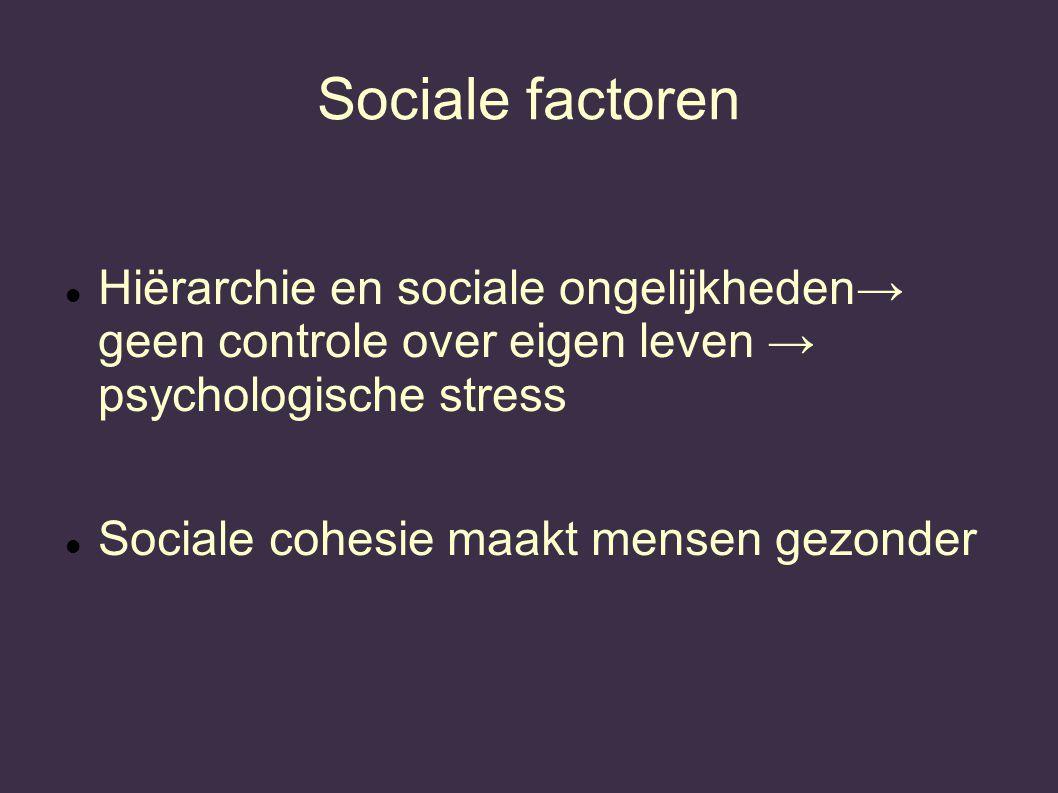 Sociale factoren Hiërarchie en sociale ongelijkheden→ geen controle over eigen leven → psychologische stress Sociale cohesie maakt mensen gezonder