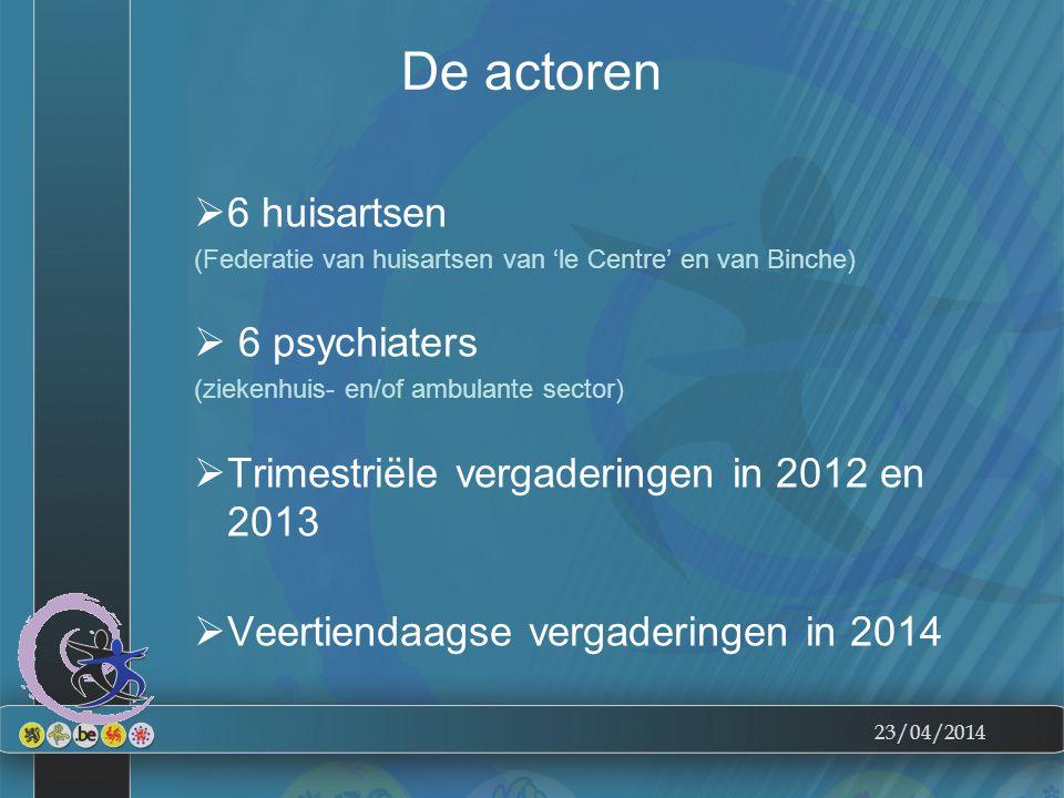 23/04/2014 De actoren  6 huisartsen (Federatie van huisartsen van 'le Centre' en van Binche)  6 psychiaters (ziekenhuis- en/of ambulante sector)  Trimestriële vergaderingen in 2012 en 2013  Veertiendaagse vergaderingen in 2014
