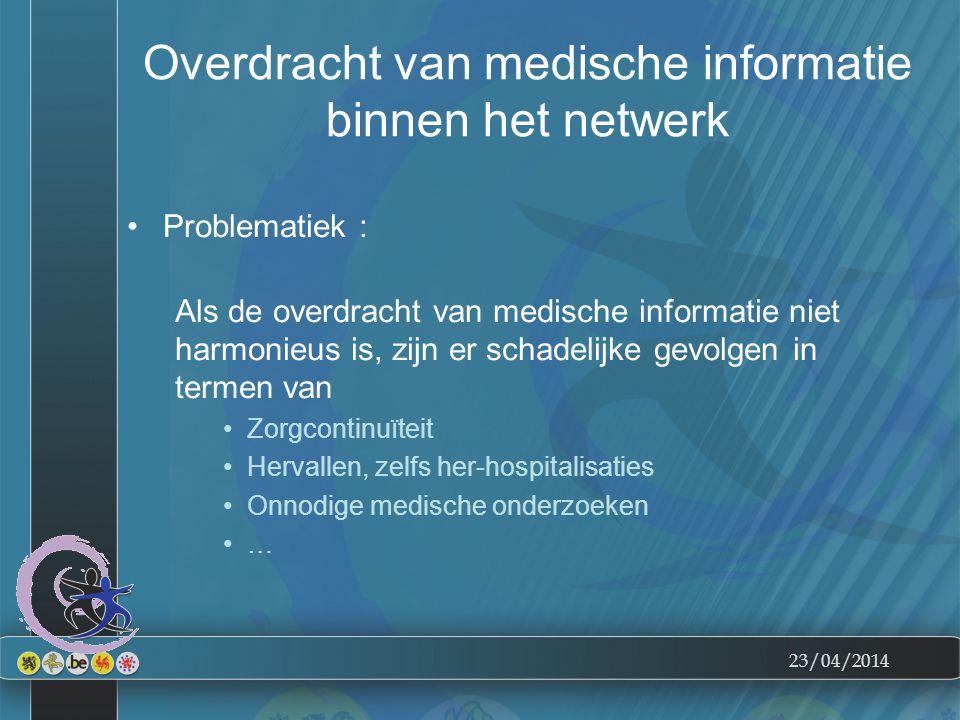 23/04/2014 Overdracht van medische informatie binnen het netwerk Problematiek : Als de overdracht van medische informatie niet harmonieus is, zijn er schadelijke gevolgen in termen van Zorgcontinuïteit Hervallen, zelfs her-hospitalisaties Onnodige medische onderzoeken …
