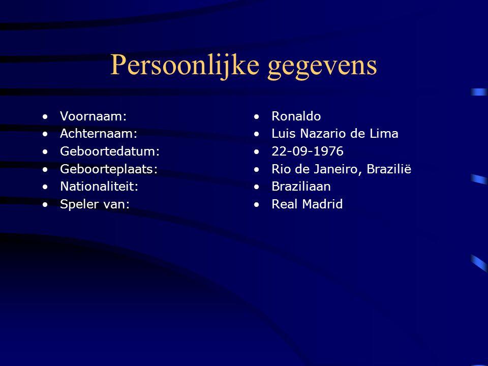Persoonlijke gegevens Voornaam: Achternaam: Geboortedatum: Geboorteplaats: Nationaliteit: Speler van: Ronaldo Luis Nazario de Lima 22-09-1976 Rio de Janeiro, Brazilië Braziliaan Real Madrid