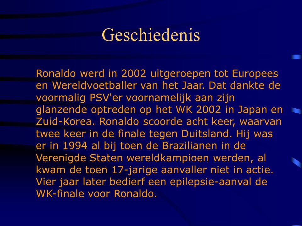 Persoonlijke gegevens Voornaam: Achternaam: Geboortedatum: Geboorteplaats: Nationaliteit: Speler van: Ronaldo Luis Nazario de Lima 22-09-1976 Rio de J