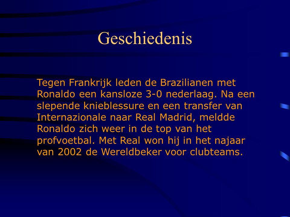 Geschiedenis Tegen Frankrijk leden de Brazilianen met Ronaldo een kansloze 3-0 nederlaag.