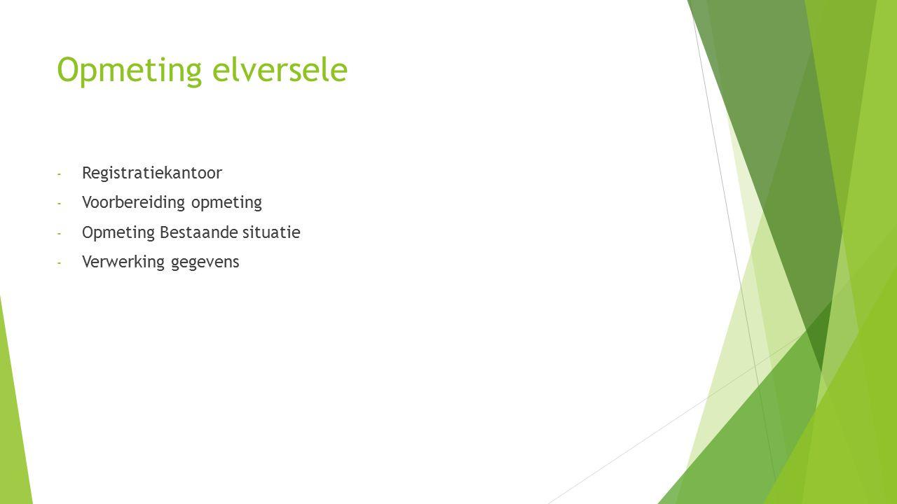 Opmeting elversele - Registratiekantoor - Voorbereiding opmeting - Opmeting Bestaande situatie - Verwerking gegevens