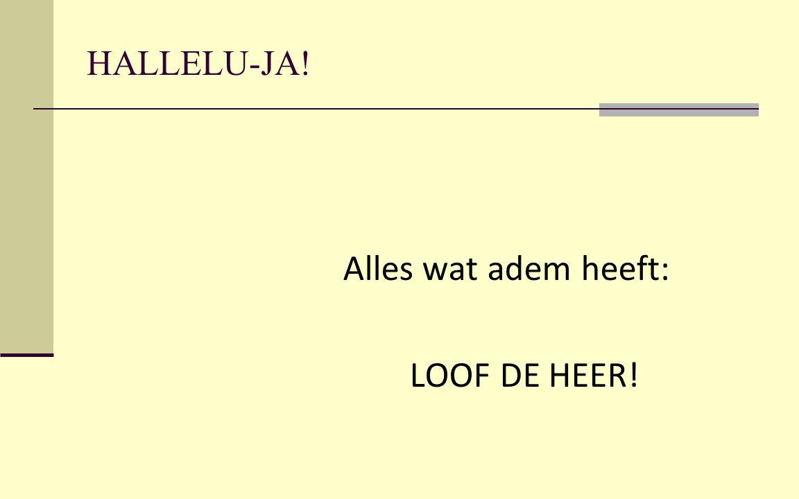 HALLELU-JA! Alles wat adem heeft: LOOF DE HEER!