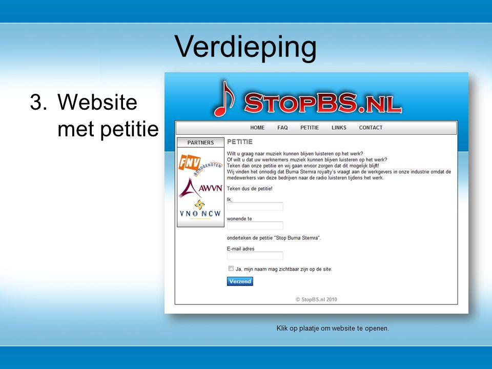 3.Website met petitie Verdieping Klik op plaatje om website te openen.