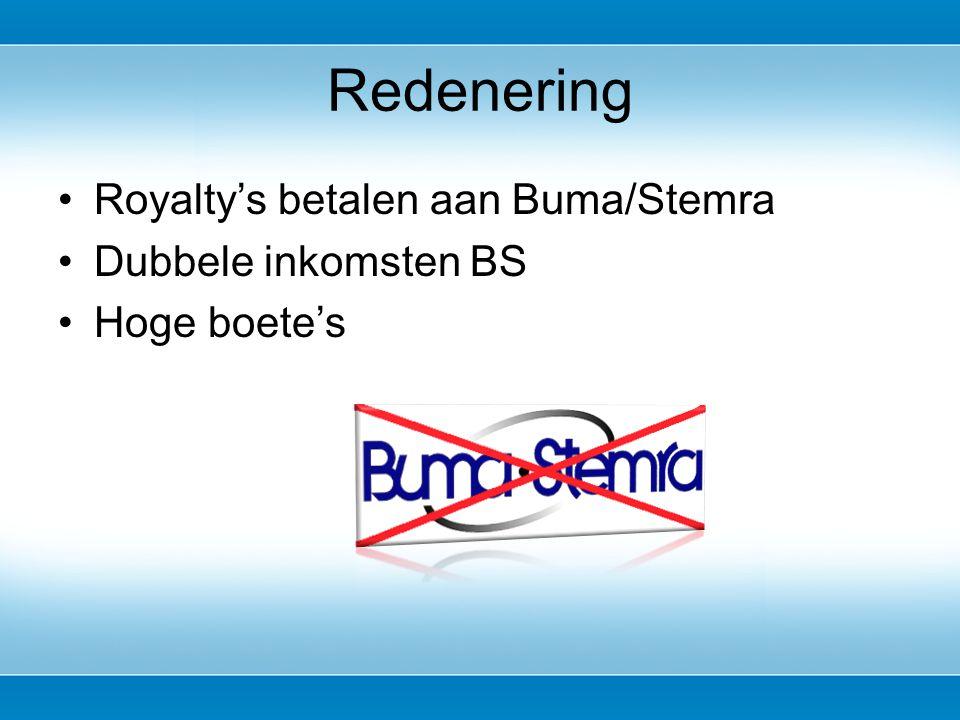 Royalty's betalen aan Buma/Stemra Dubbele inkomsten BS Hoge boete's Redenering