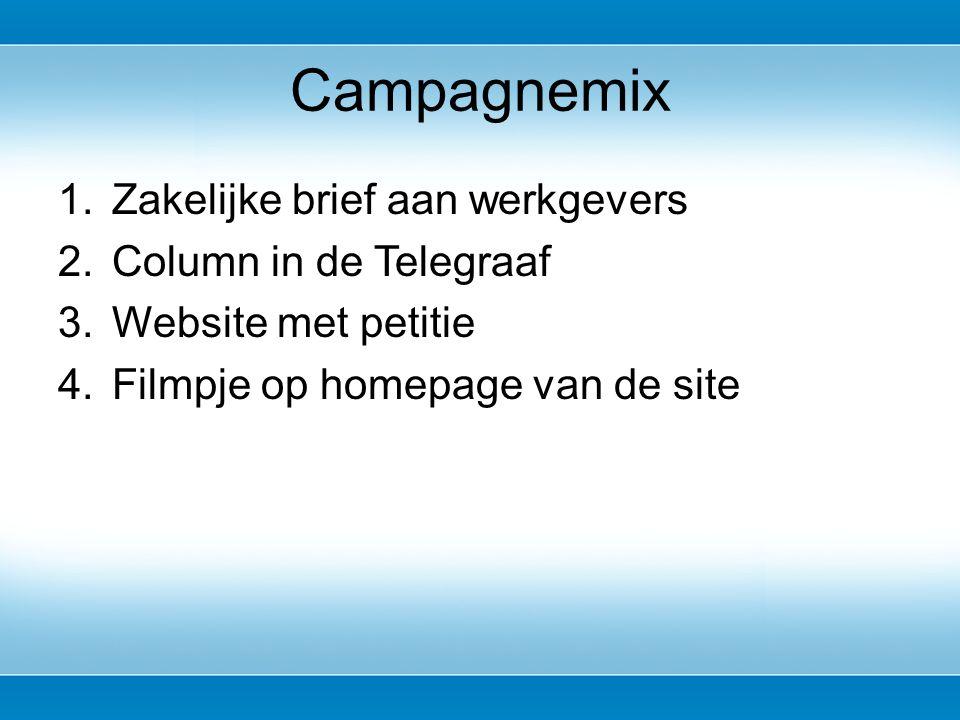 1.Zakelijke brief aan werkgevers 2.Column in de Telegraaf 3.Website met petitie 4.Filmpje op homepage van de site Campagnemix