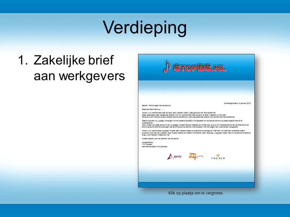 1.Zakelijke brief aan werkgevers Verdieping Klik op plaatje om te vergroten.