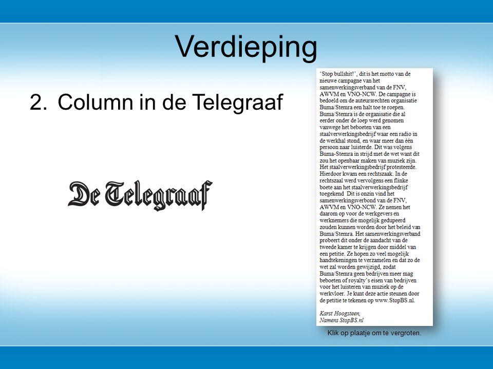2.Column in de Telegraaf Verdieping Klik op plaatje om te vergroten.