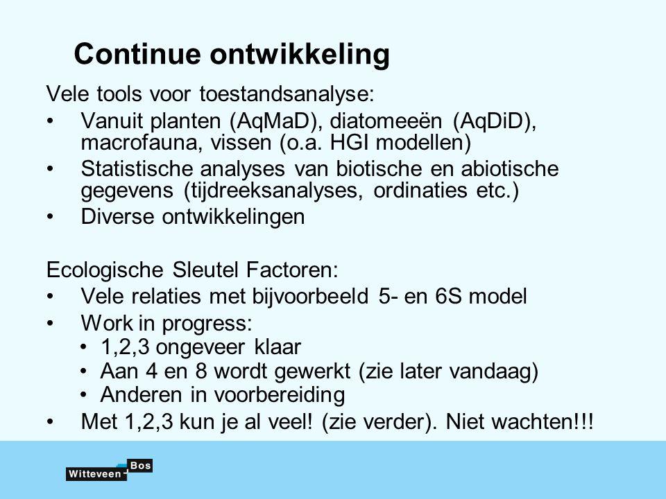 Continue ontwikkeling Vele tools voor toestandsanalyse: Vanuit planten (AqMaD), diatomeeën (AqDiD), macrofauna, vissen (o.a. HGI modellen) Statistisch