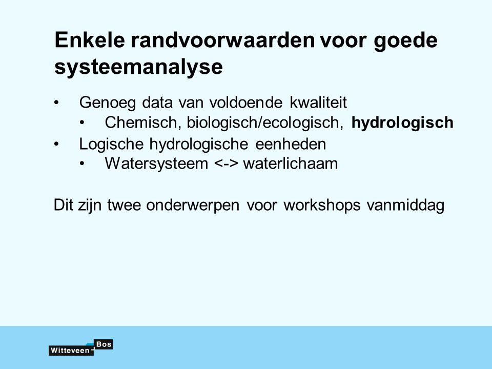 Enkele randvoorwaarden voor goede systeemanalyse Genoeg data van voldoende kwaliteit Chemisch, biologisch/ecologisch, hydrologisch Logische hydrologis