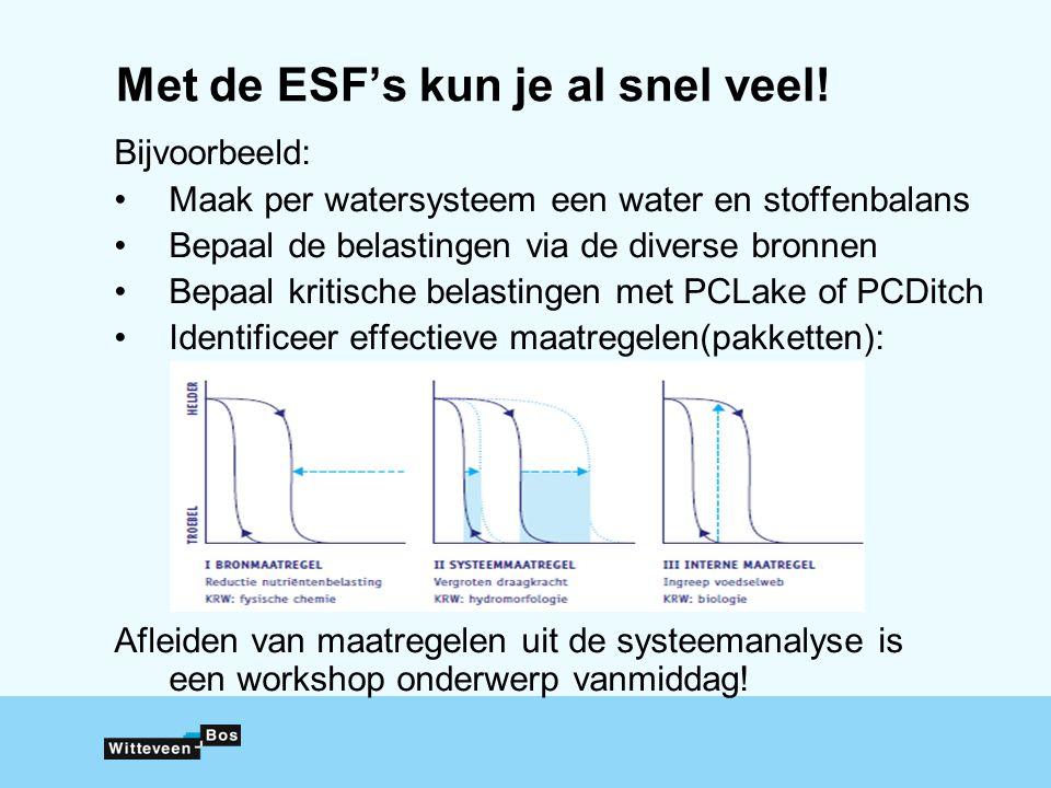 Met de ESF's kun je al snel veel! Bijvoorbeeld: Maak per watersysteem een water en stoffenbalans Bepaal de belastingen via de diverse bronnen Bepaal k