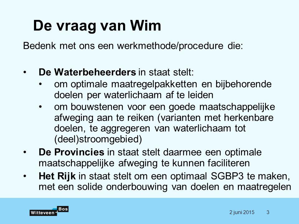 De vraag van Wim Bedenk met ons een werkmethode/procedure die: De Waterbeheerders in staat stelt: om optimale maatregelpakketten en bijbehorende doele