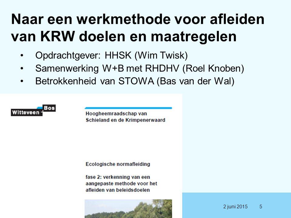 Naar een werkmethode voor afleiden van KRW doelen en maatregelen Opdrachtgever: HHSK (Wim Twisk) Samenwerking W+B met RHDHV (Roel Knoben) Betrokkenhei