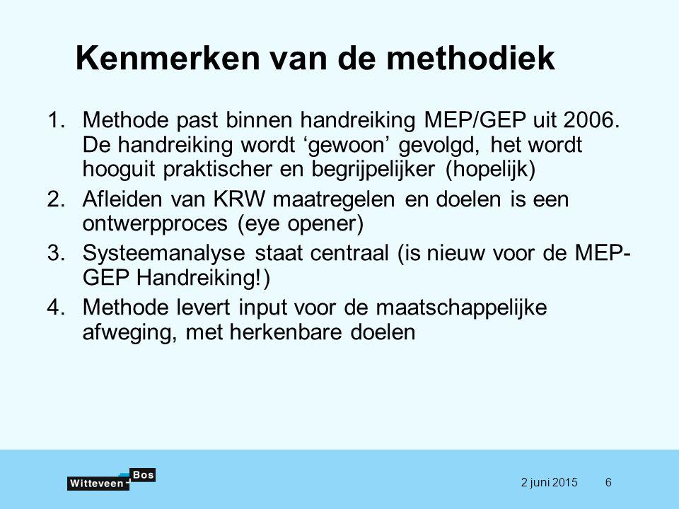 Kenmerken van de methodiek 1.Methode past binnen handreiking MEP/GEP uit 2006. De handreiking wordt 'gewoon' gevolgd, het wordt hooguit praktischer en
