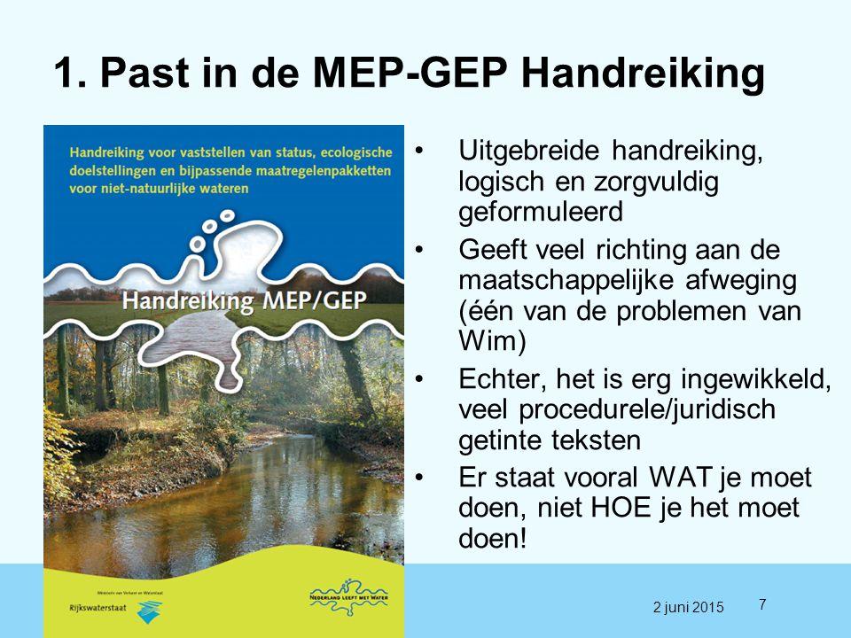 1. Past in de MEP-GEP Handreiking Uitgebreide handreiking, logisch en zorgvuldig geformuleerd Geeft veel richting aan de maatschappelijke afweging (éé
