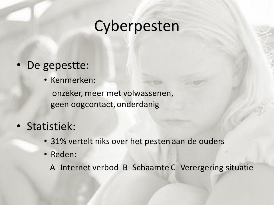 Cyberpesten De gepestte: Kenmerken: onzeker, meer met volwassenen, geen oogcontact, onderdanig Statistiek: 31% vertelt niks over het pesten aan de ouders Reden: A- Internet verbod B- Schaamte C- Verergering situatie