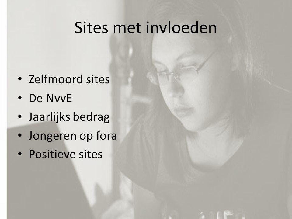 Zelfmoord sites De NvvE Jaarlijks bedrag Jongeren op fora Positieve sites