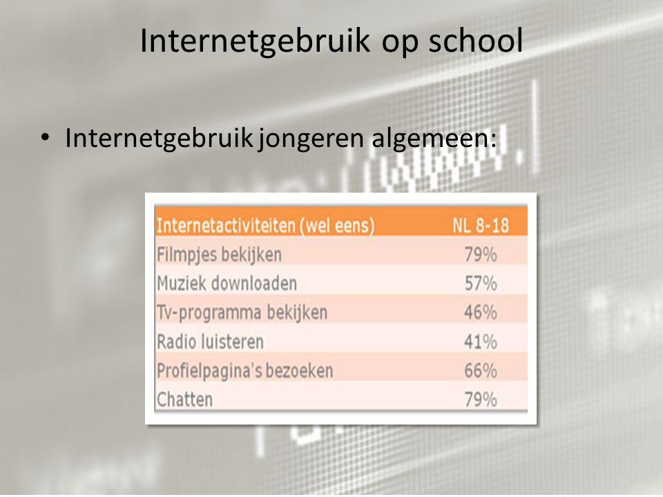 Internetgebruik op school Internetgebruik jongeren algemeen: