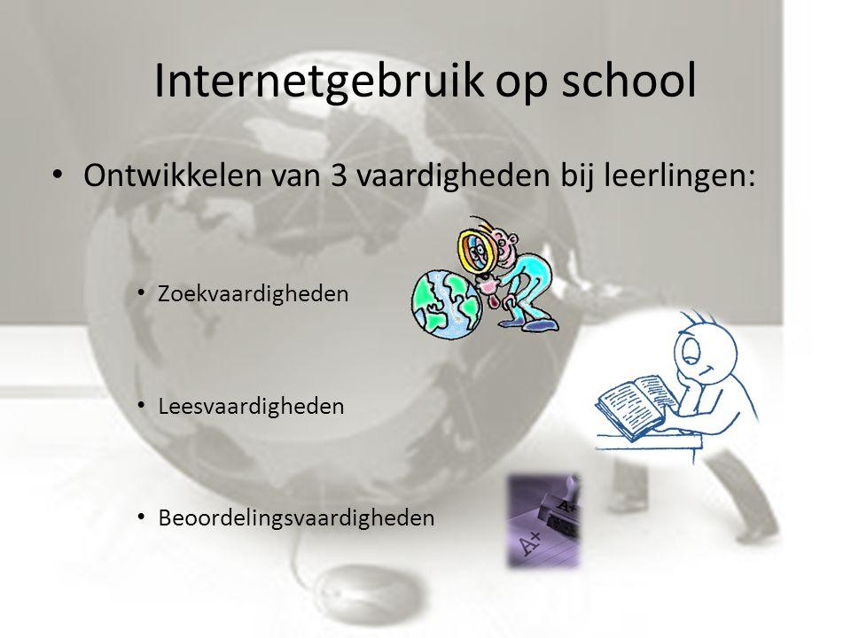 Internetgebruik op school Ontwikkelen van 3 vaardigheden bij leerlingen: Zoekvaardigheden Leesvaardigheden Beoordelingsvaardigheden