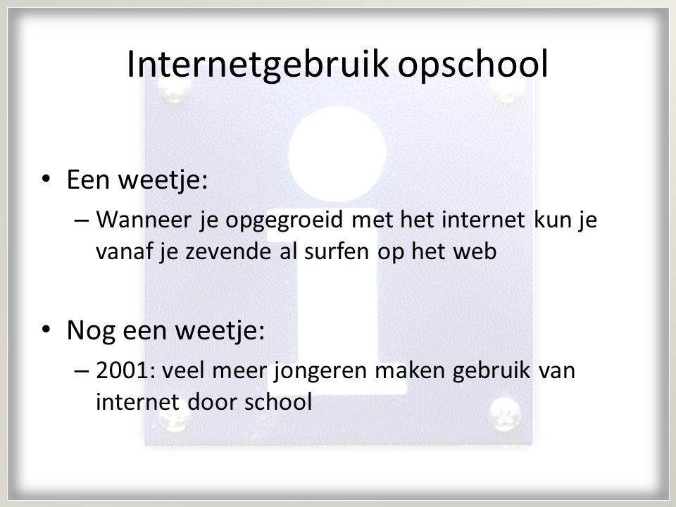 Internetgebruik opschool Een weetje: – Wanneer je opgegroeid met het internet kun je vanaf je zevende al surfen op het web Nog een weetje: – 2001: veel meer jongeren maken gebruik van internet door school