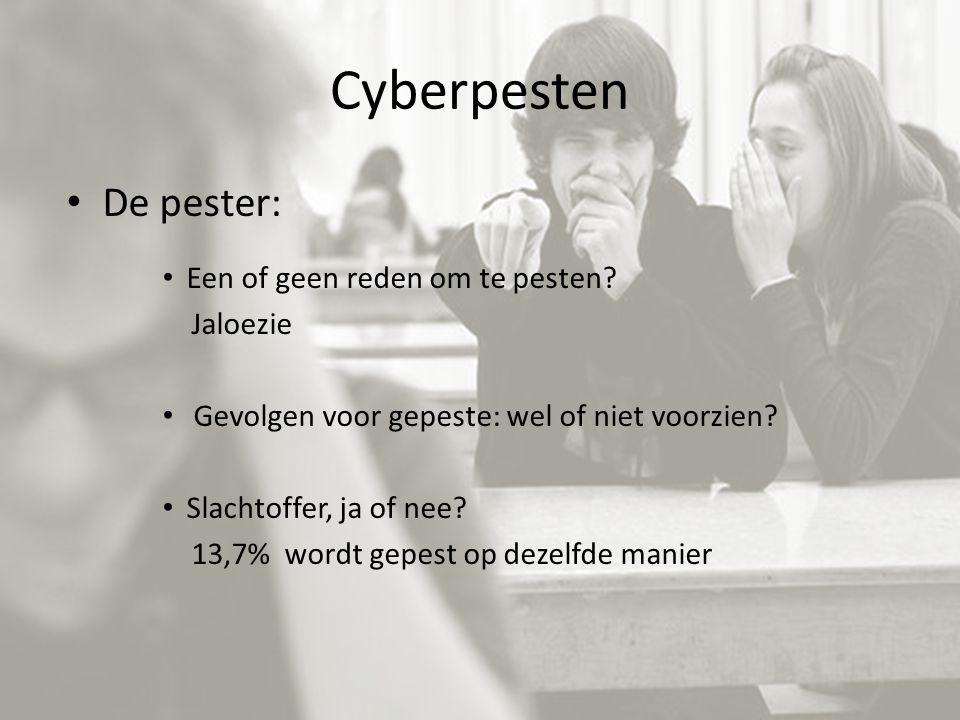 Cyberpesten De pester: Een of geen reden om te pesten? Jaloezie Gevolgen voor gepeste: wel of niet voorzien? Slachtoffer, ja of nee? 13,7% wordt gepes