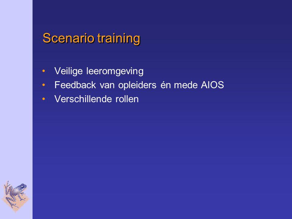 Scenario training Veilige leeromgeving Feedback van opleiders én mede AIOS Verschillende rollen