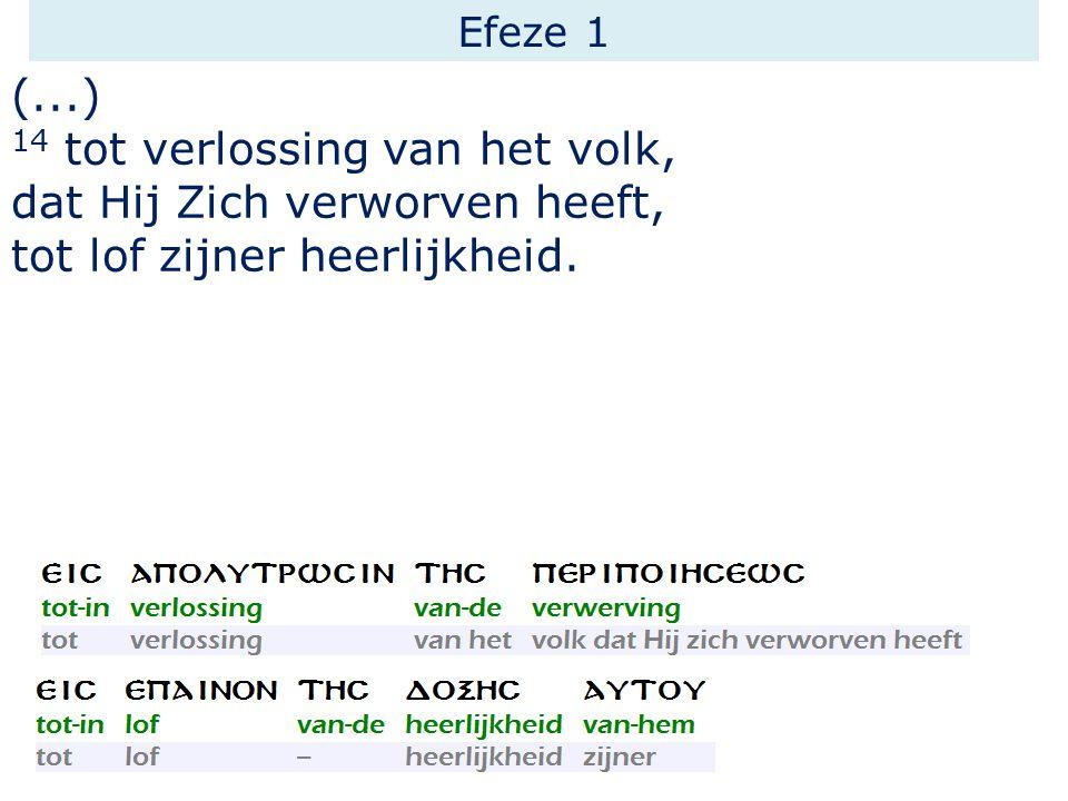 Efeze 1 (...) 14 tot verlossing van het volk, dat Hij Zich verworven heeft, tot lof zijner heerlijkheid.