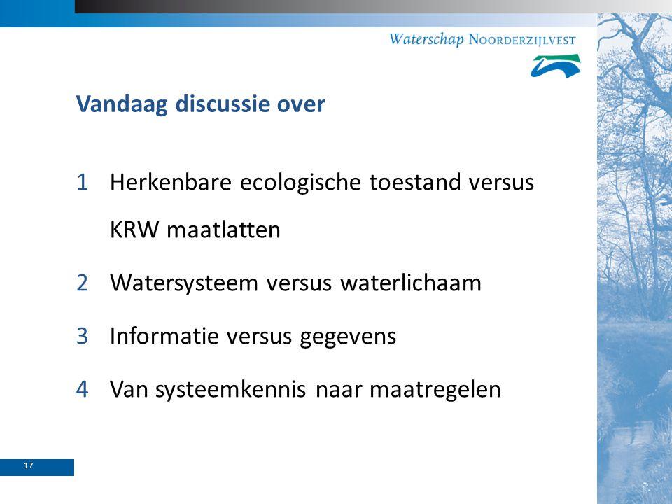 Vandaag discussie over 1Herkenbare ecologische toestand versus KRW maatlatten 2Watersysteem versus waterlichaam 3Informatie versus gegevens 4Van syste