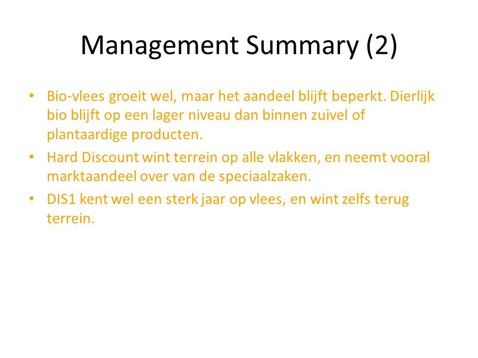 Management Summary (2) Bio-vlees groeit wel, maar het aandeel blijft beperkt. Dierlijk bio blijft op een lager niveau dan binnen zuivel of plantaardig