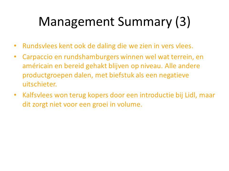 Management Summary (3) Rundsvlees kent ook de daling die we zien in vers vlees. Carpaccio en rundshamburgers winnen wel wat terrein, en américain en b