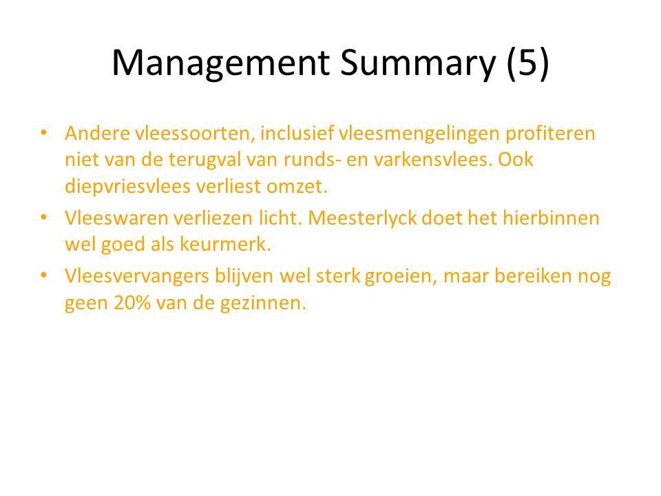 Management Summary (5) Andere vleessoorten, inclusief vleesmengelingen profiteren niet van de terugval van runds- en varkensvlees. Ook diepvriesvlees
