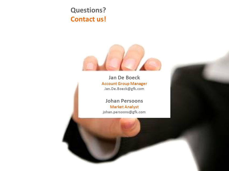Questions? Contact us! Jan De Boeck Account Group Manager Jan.De.Boeck@gfk.com Johan Persoons Market Analyst johan.persoons@gfk.com