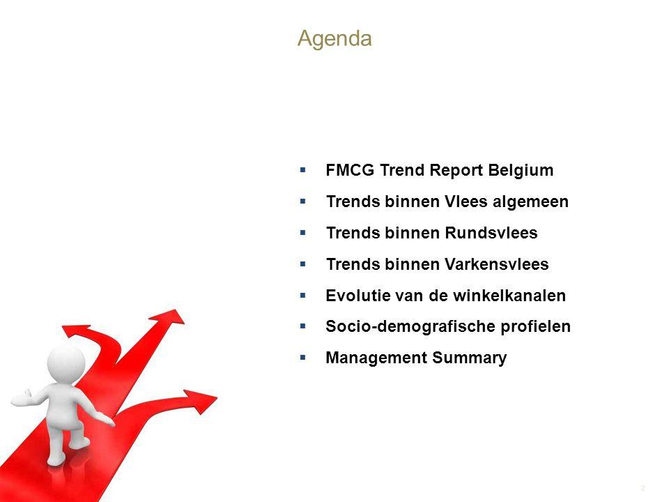 FMCG Trend Report Belgium  Trends binnen Vlees algemeen  Trends binnen Rundsvlees  Trends binnen Varkensvlees  Evolutie van de winkelkanalen  S