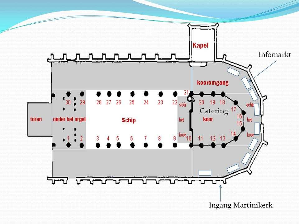 Ingang Martinikerk Infomarkt Schip Catering Kapel kooromgang