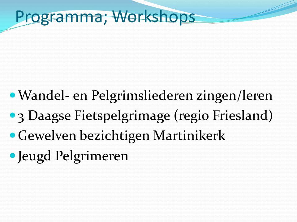 Programma; Workshops Wandel- en Pelgrimsliederen zingen/leren 3 Daagse Fietspelgrimage (regio Friesland) Gewelven bezichtigen Martinikerk Jeugd Pelgrimeren