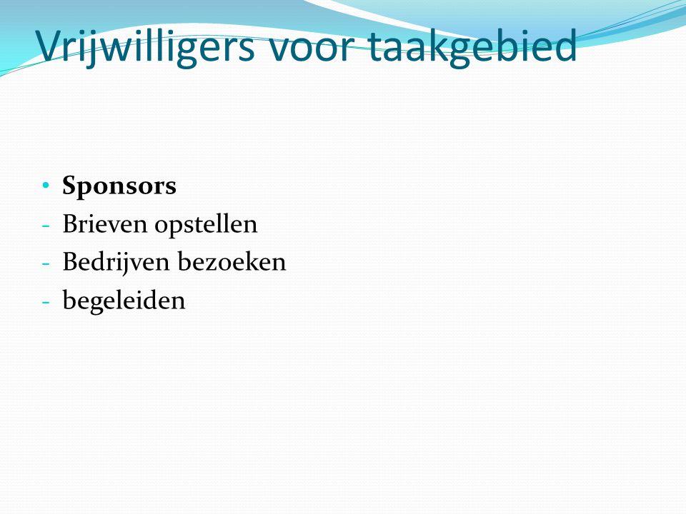 Vrijwilligers voor taakgebied Sponsors - Brieven opstellen - Bedrijven bezoeken - begeleiden