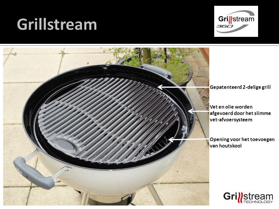Gepatenteerd 2-delige grill Vet en olie worden afgevoerd door het slimme vet-afvoersysteem Opening voor het toevoegen van houtskool