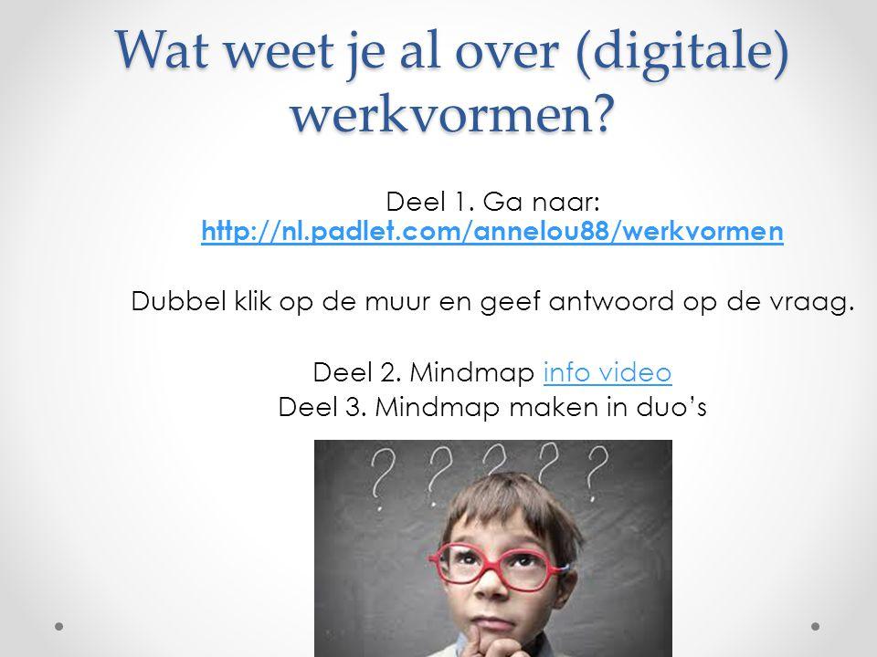 Wat weet je al over (digitale) werkvormen? Deel 1. Ga naar: http://nl.padlet.com/annelou88/werkvormen http://nl.padlet.com/annelou88/werkvormen Dubbel