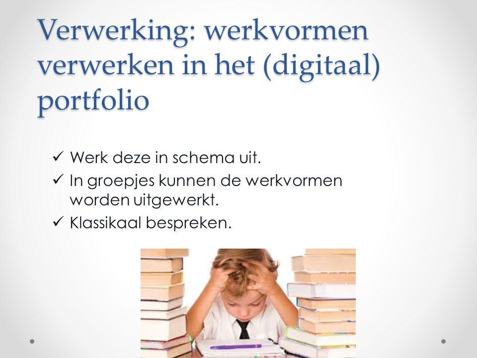 Verwerking: werkvormen verwerken in het (digitaal) portfolio Werk deze in schema uit. In groepjes kunnen de werkvormen worden uitgewerkt. Klassikaal b