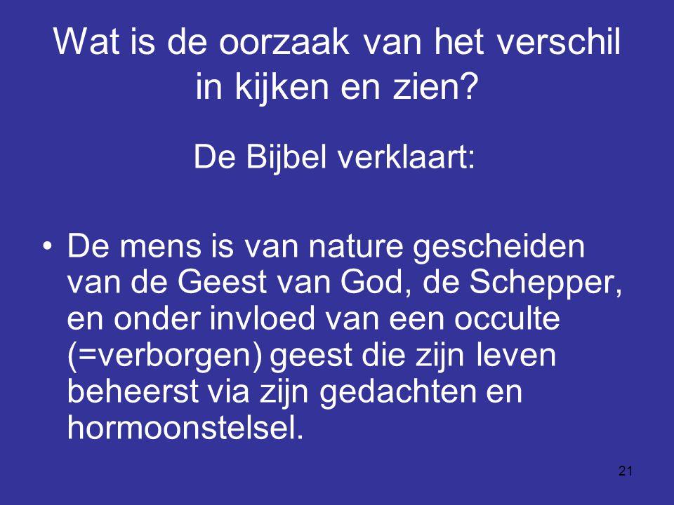 21 Wat is de oorzaak van het verschil in kijken en zien? De Bijbel verklaart: De mens is van nature gescheiden van de Geest van God, de Schepper, en o