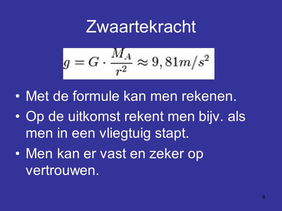 4 Zwaartekracht Met de formule kan men rekenen. Op de uitkomst rekent men bijv. als men in een vliegtuig stapt. Men kan er vast en zeker op vertrouwen