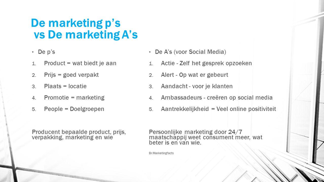 De marketing p's vs De marketing A's De p's 1. Product = wat biedt je aan 2. Prijs = goed verpakt 3. Plaats = locatie 4. Promotie = marketing 5. Peopl