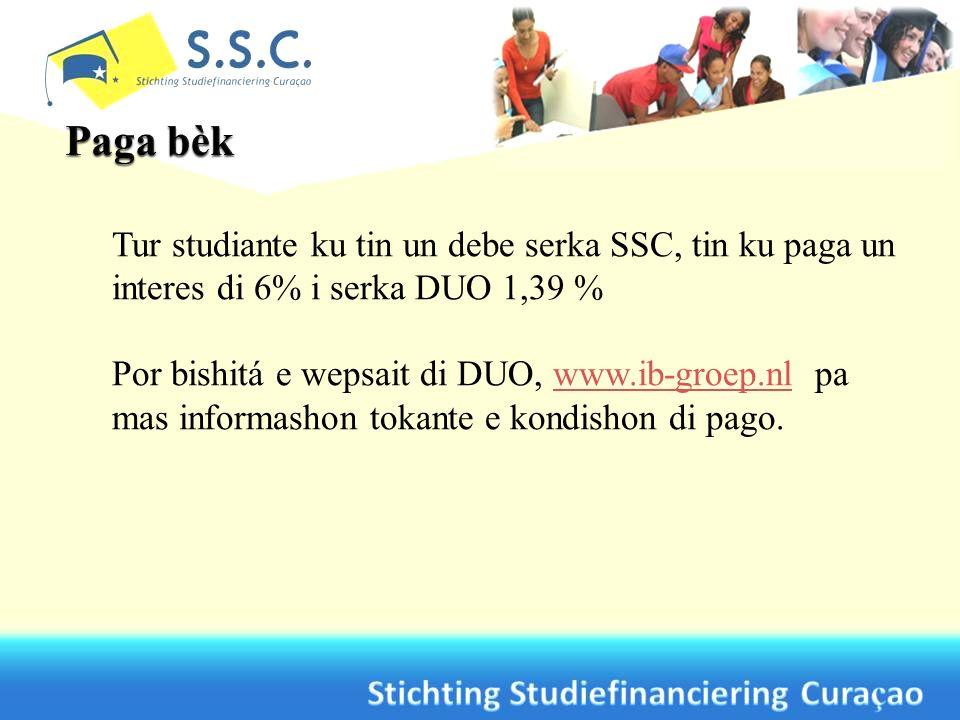 Tur studiante ku tin un debe serka SSC, tin ku paga un interes di 6% i serka DUO 1,39 % Por bishitá e wepsait di DUO, www.ib-groep.nl pa mas informash