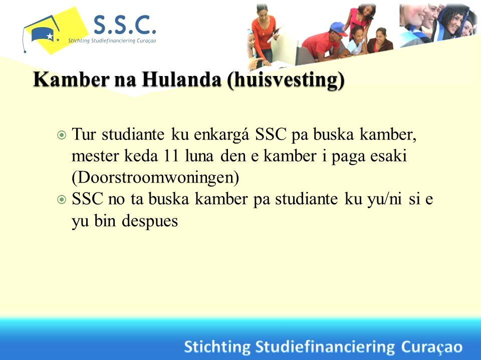 Tur studiante ku enkargá SSC pa buska kamber, mester keda 11 luna den e kamber i paga esaki (Doorstroomwoningen) SSC no ta buska kamber pa studiante k