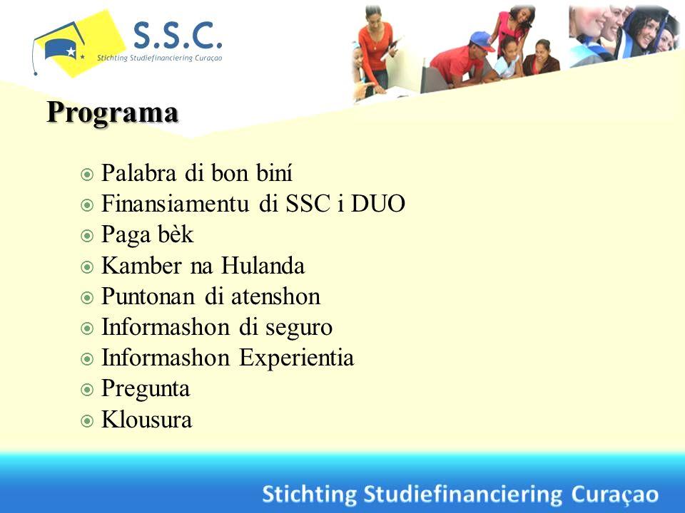 Palabra di bon biní Finansiamentu di SSC i DUO Paga bèk Kamber na Hulanda Puntonan di atenshon Informashon di seguro Informashon Experientia Pregunta Klousura
