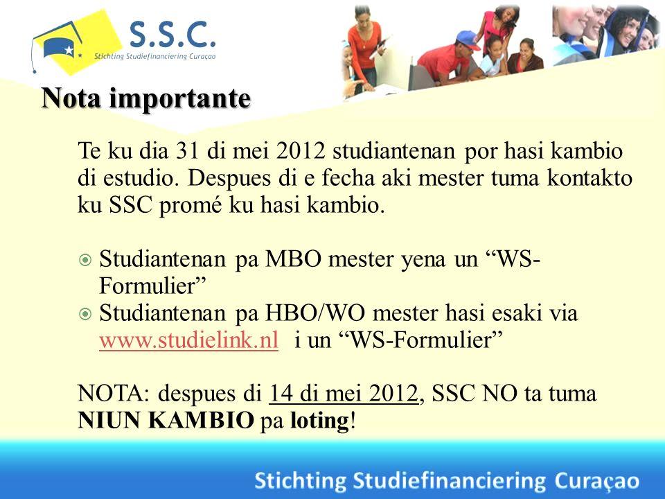 Te ku dia 31 di mei 2012 studiantenan por hasi kambio di estudio.