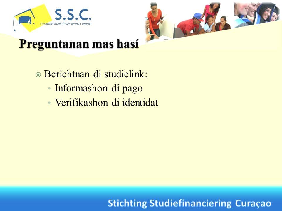 Berichtnan di studielink: Informashon di pago Verifikashon di identidat